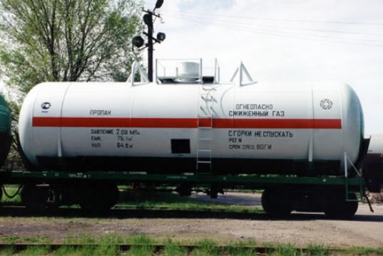 cisterna za gas AZKM zheleznodorozhnaya
