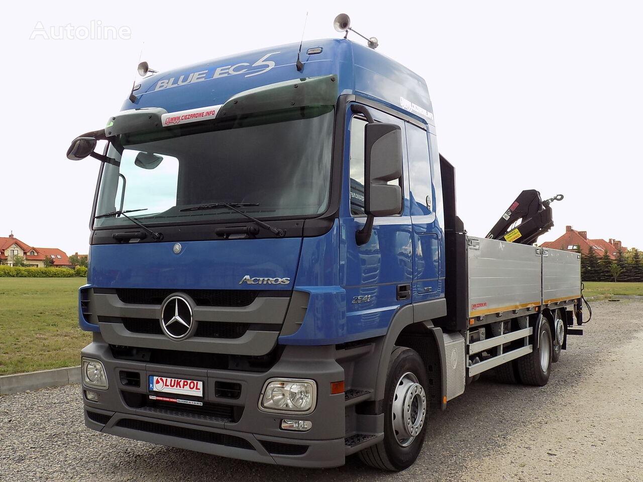 kamion s ravnom platformom MERCEDES-BENZ ACTROS 2541 - 6X2 + HDS HIAB 088 DUO - IDEAŁ - JEDYNY TAKI
